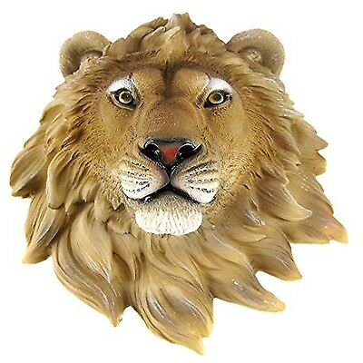 "African Lion Head Bust 9.5"" Wall Mount Statue Decore Figure Safari Hanging Leo"
