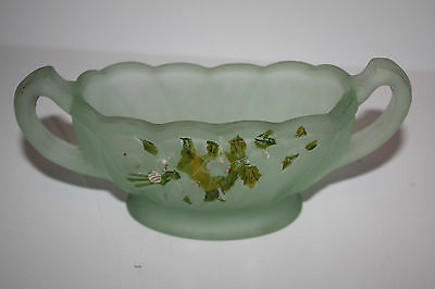 Very Old Depression Glass Frosted Green Handles