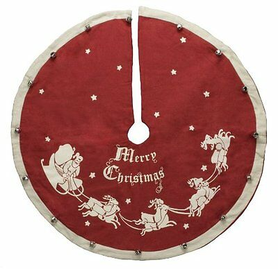 """Vintage-Style Jingle Bell CHRISTMAS TREE SKIRT, 24"""", Primitives by Kathy"""