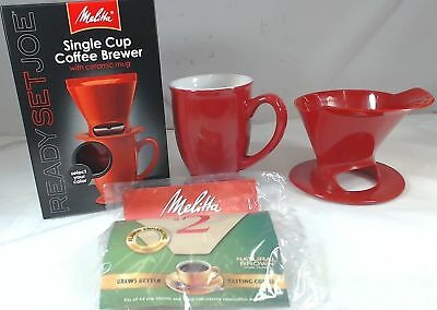 Melitta 64011, 1 Cup Coffee Brewer with Ceramic Mug, Red