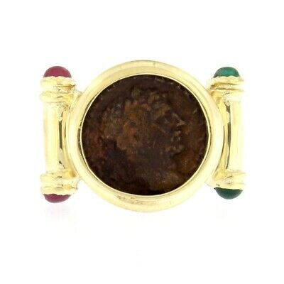 Estate Ring with Ancient Bronze Coin & Red & Green Stones 14kt Yellow Gold