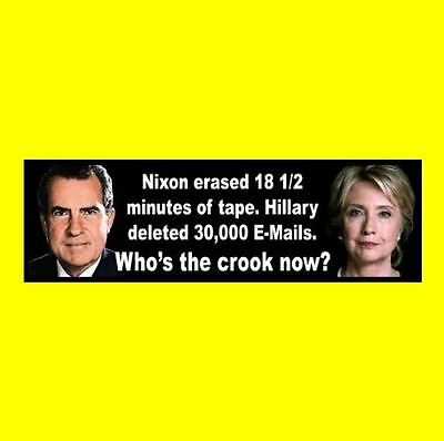 """Funny """"WHO'S THE CROOK NOW?"""" Anti Hillary Clinton BUMPER STICKER decal obama GOP"""