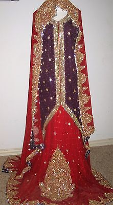 Ladies NEW bridal skirt lehanga sharara gown dress with Swarovski crystals Small