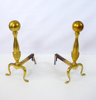 Antique Brass Ball Top Andirons Fireplace Decor Claw Foot Hollywood Regency Vtg