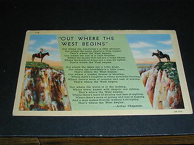"""""""Out Where The West Begins""""  Canada Postcard"""