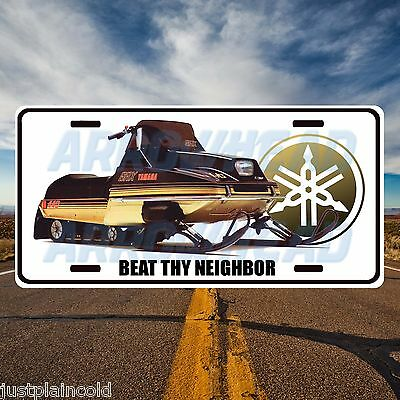 Vintage Yamaha snowmobile `Beat thy Neighbour`` style licence plate
