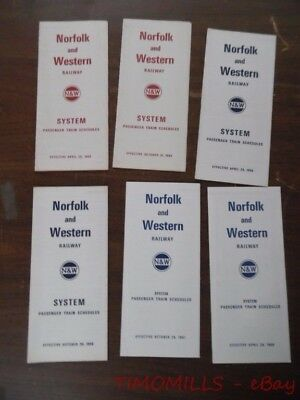 1965 to 1968 Norfolk and Western Railway Timetable Lot of 6 N&W NW Vintage VG+