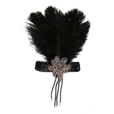 Vintage Black Ostrich Feather Headband 1920s Flapper Great Gasby Headpiece
