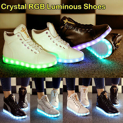 Hightop LED RGB Light Up Bling Casual Couple Luminous Sneaker Party Dance Shoes