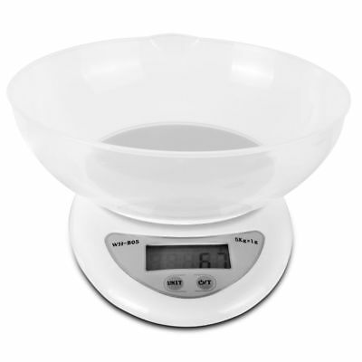 5000g x 1g Digital Kitchen Scale Compact Diet Food Compact w/ Bowl & 2 Batteries