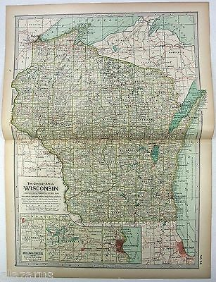 Original 1897 Map of Wisconsin by The Century Company