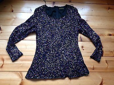 VINTAGE 90s GINA BACCONI STUNNING SEQUIN TOP SIZE  14/16 CRUISE PARTY CHRISTMAS