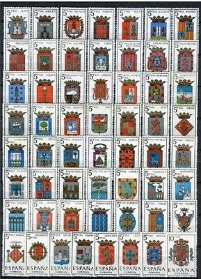 SPAIN Full Collection 57 Stamps Escudos,Spanish Coat of Arms MNH Luxe