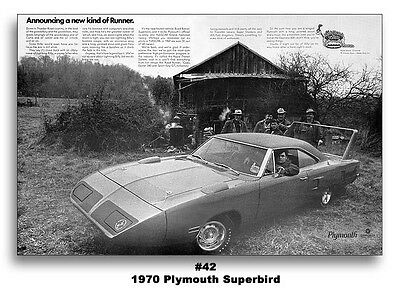 13x19 AD POSTER 1970 PLYMOUTH ROAD RUNNER SUPERBIRD RICHARD PETTY RTS MOPAR 440