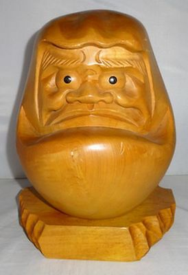 Rare Japanese Vintage Wooden Hand Carved Bodhidharma Dharma Daruma Statue
