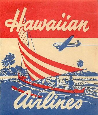 Hawaii Hawaiian Airlines Outrigger Vintage Aviation Baggage Luggage Label