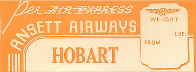 Ansett Airways Australia To Hobart Tasmania Vintage Baggage Luggage Label