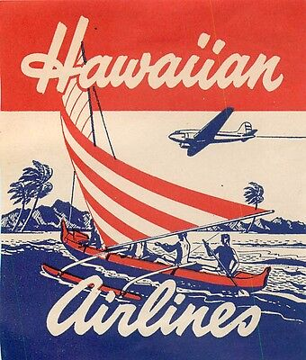 Hawaii Hawaiian Airlines Outrigger Vintage Baggage Luggage Label