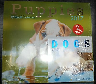 Dogs Puppies 2017 Wall Calendar 12 Months Planner Agenda Bonus 2 In Package