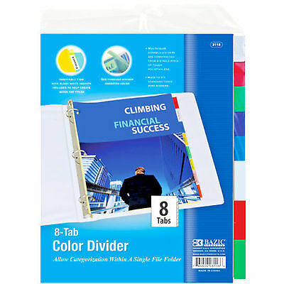 BAZIC 3-Ring Binder Dividers W/ 8-Insertable Color Tabs. (3 Sets Package)