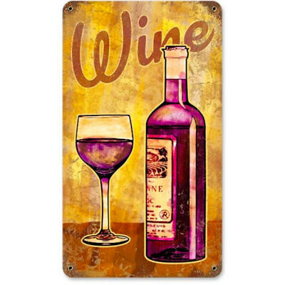 Wine Vintage Painting Tin Sign Glass Bottle Distressed Wine Bar Decor 8 x 14
