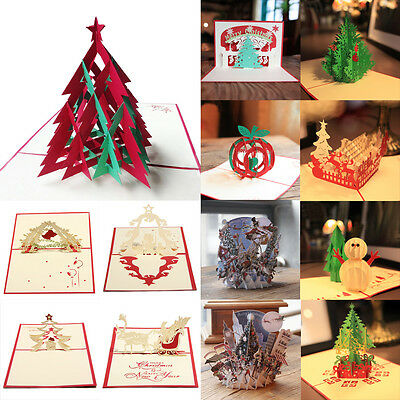 HOT Individuality 3D Pop Up Handmade Merry Christmas Multi-style Greeting Cards