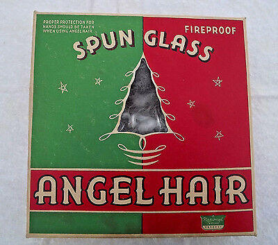 Vintage Christmas Angel Hair Curly Spun Glass National Tinsel Company 1920s Box