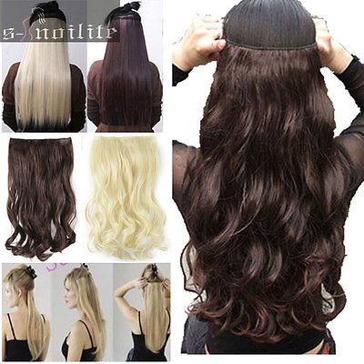 Long 100% Real Natural Hair Extensions Clip in on Hair Extension Full Head ss72
