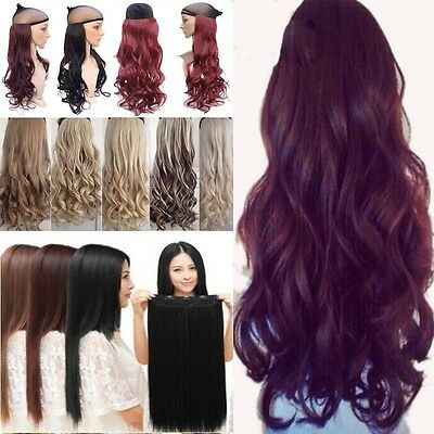 "100% Real Long 17-30"" Clip in Hair Extensions Straight Curly 3/4 Full Head lhdkc"