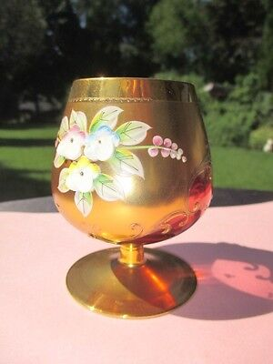 Egermann Cranberry Liquor Glass Snifter Heavy Gold Dressed Pate Paste Flowers