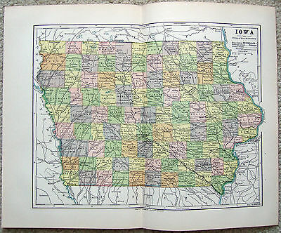 Original 1885 Map of Iowa by Phillips & Hunt