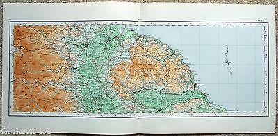 Original 1922 Ordnance Survey Map - Darlington Middlesbrough Scarborough England