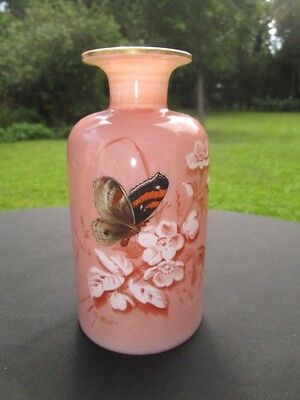 Victorian Bristol Pink Opal Glass Bottle Vase Enamel Anemone Monarch Butterfly