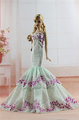 Royalty Mermaid Dress Party Dress/Wedding Clothes/Gown For Barbie Doll H06