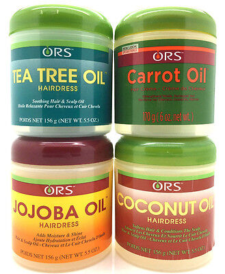 ORS Carrot Oil, Tea Tree Oil, Jojoba Oil & Coconut Oil Hair Dress Range