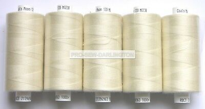 5 x CREAM MOON POLYESTER SEWING THREAD 120s COTTON ( 238 )
