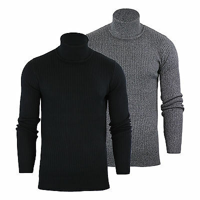 Mens Jumper Brave Soul Rally Turtle Roll Neck Stretch Knitted Sweater