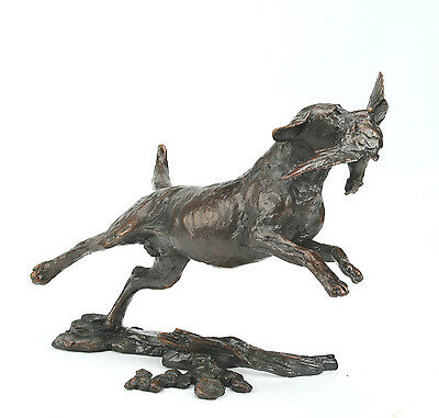 Limited Edition Hot Cast Solid Bronze Sculpture Small Labrador Retrieving