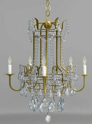 Draped Crystal Beads Currey & Co Horchow Chandelier Antique Gold French Regency