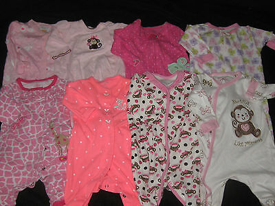 Baby Girl 3 Months Footed Sleepers Sleepwear Lot Fall Winter Clothes Lot