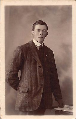 Young man, tweed jacket, c 1912, RP, Brittania's, High Street, Lincoln, Q2121
