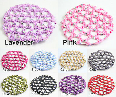 Girls Bun Cover Snood Hair Net Ballet Dance Skating Crochet&Diamond