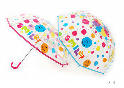 """Drizzles Kids """"Smiley"""" Umbrella Assorted Pink & Blue Colours Fast Postage"""