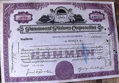 USA stock certificate Paramount Pictures Corporation. Broker Merrill Lynch