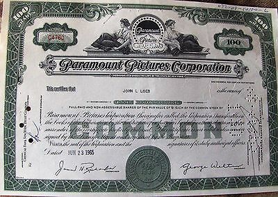 USA stock certificate Paramount Pictures Corporation issued in 1965 100 shares