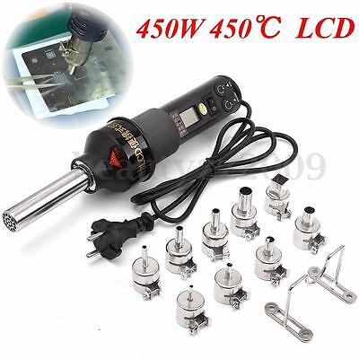 450W LCD Electronic Heat Hot Air Gun Desoldering Soldering Station + 9 Nozzle