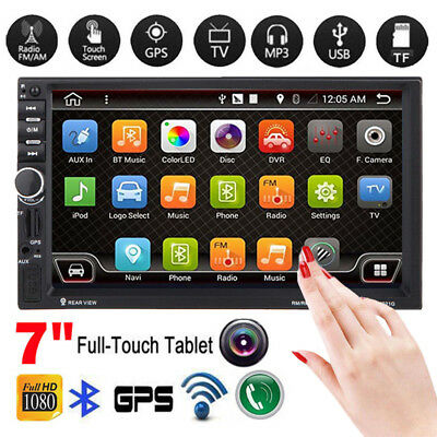 "7"" HD 2DIN Car Stereo MP3 MP5 Player GPS Nav Bluetooth Touch FM Radio USB/TF/AUX"