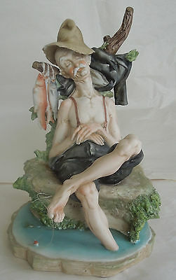 "CAPODIMONTE PORCELAIN  ITALY signed by PUCCI "" SLEEPING FISHERMAN "" FIGURE"