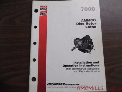 1993 AMMCO 7000 Disc Rotor Brake Lathe Installation and Operation Manual ORIGINL