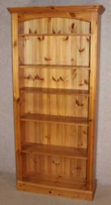 Neat Tall Pine open Bookcase with 5 shelves. Small Carved top cornice.